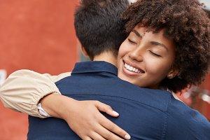 Sweet hugs concept. Outdoor shot of