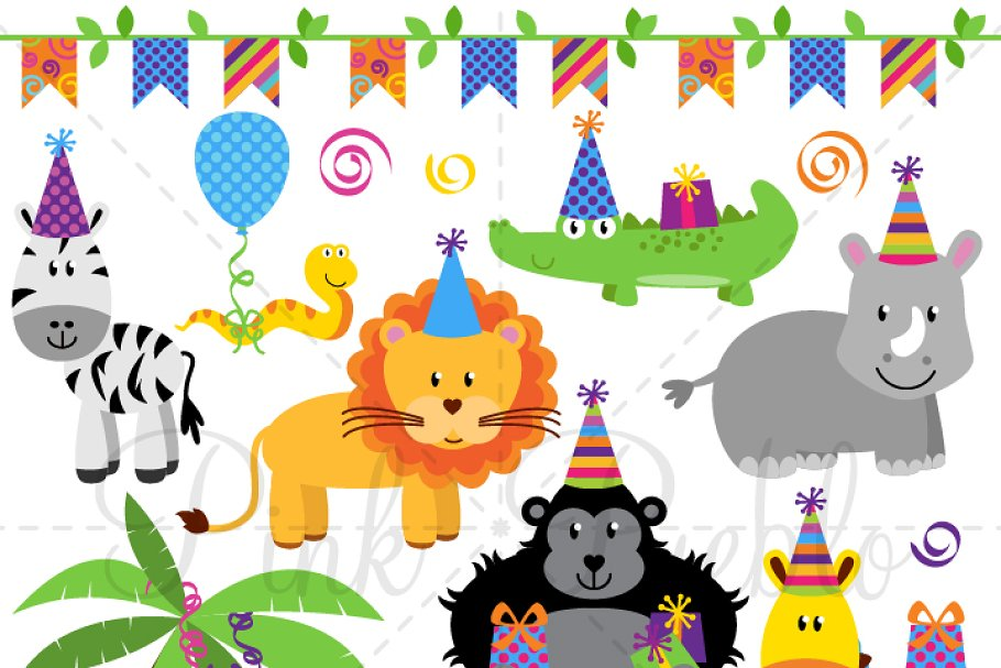 Save Birthday Party Animal Clipart Vector