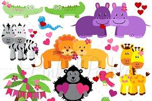 Valentine's Day Zoo & Jungle Animals