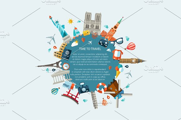 World Famous Landmarks Illustration