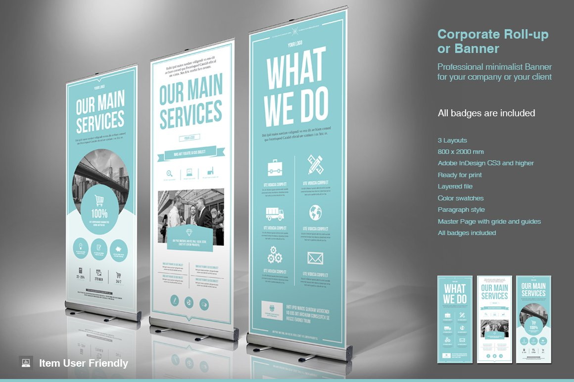 business roll up banner flyer templates creative market. Black Bedroom Furniture Sets. Home Design Ideas