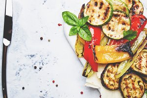 Grilled colorful vegetables, aubergi