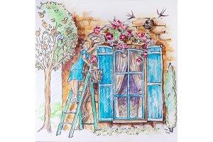 Girl on a stepladder in the garden