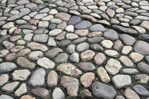 Stones paved old street