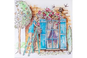 A girl on a stepladder in the garden