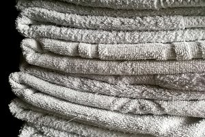 Piled towels at hotel