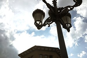 Bold scene with classical lamppost