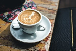 Espresso macchiato with latte art