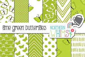 Lime Green Butterfly Patterns