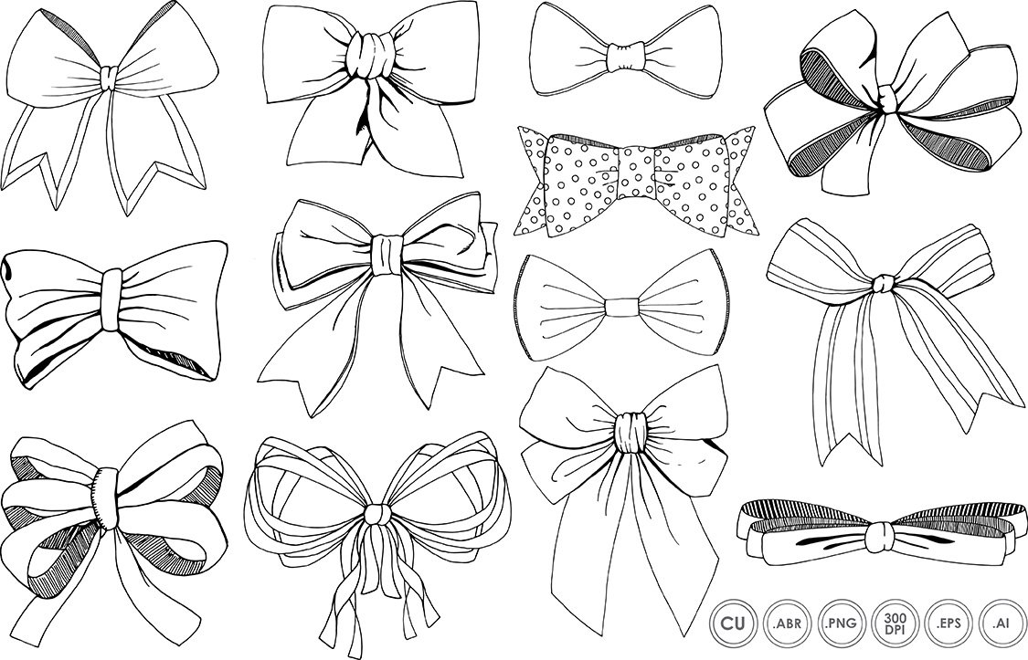 Bows & Ribbons Line Art + Silhouette ~ Illustrations