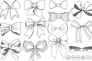 Bows & Ribbons Line Art + Silhouette