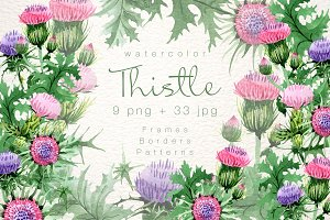 Cool Thistle PNG watercolor set