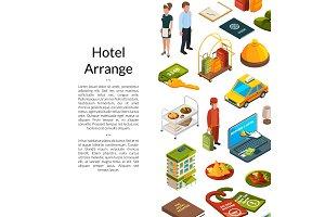 Vector isometric hotel icons
