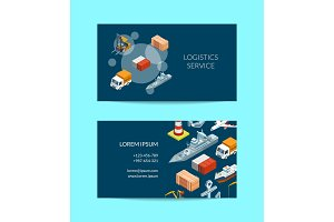 Vector isometric marine logistics or