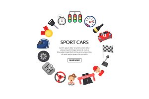 Vector flat car racing icons in