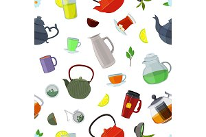 Vector cartoon tea kettles and cups