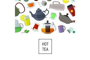 Vector cartoon tea kettles and cups