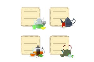 Vector tea kettles and cups stickers