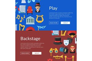 Vector flat theatre icons web banner