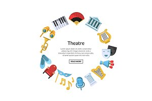 Vector flat theatre icons in circle