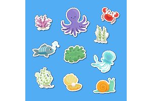 Vector cartoon underwater creatures