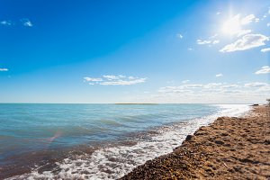 Wild sandy shore of Lake Balkhash