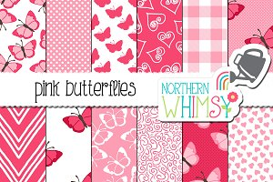 Pink Butterfly Seamless Patterns