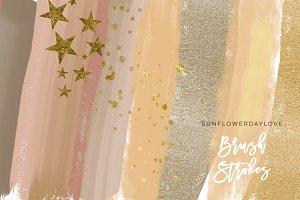 Gold Nude Clip Art Brush Stroke
