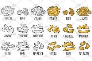 Set type pasta. Engraving