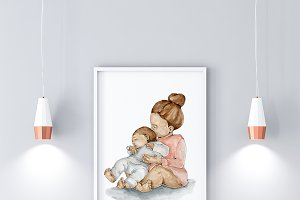 Sister's Love Art Print Babies