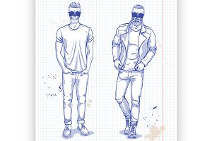 Vector set of two men with skull, be
