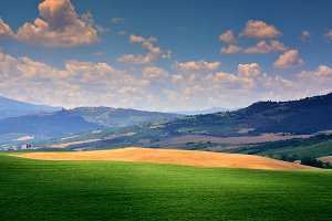 Tuscany rural sunset landscape, gree