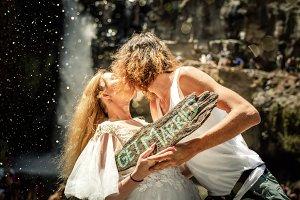 Lovely wedding couple against
