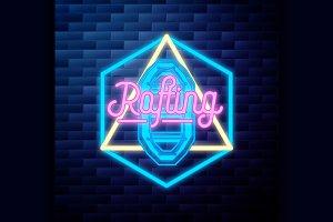 Vintage rafting emblem glowing neon