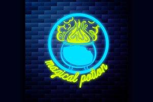 Vintage emblem glowing neon sign