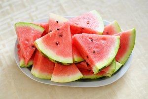 Watermelon slices on dish