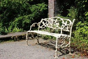 Retro Iron Bench in Garden