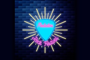 Vintage rock festival emblem glowing