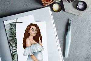 Watercolor Pregnant Motherhood Art