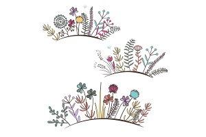 Vintage floral horizontal border