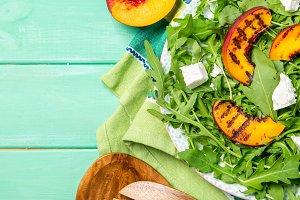 Summer salad - arugula with grilled