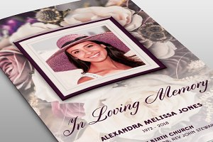 Purple Floral Funeral Program