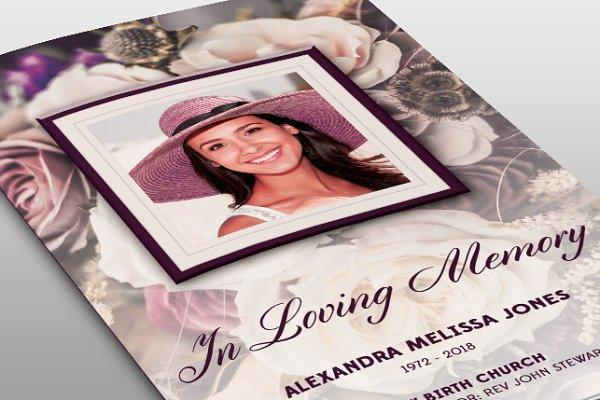 Purple Floral Funeral Program