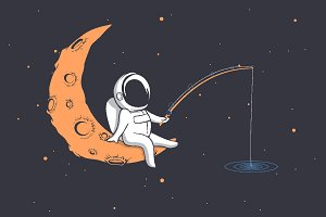 astronaut fishes in space