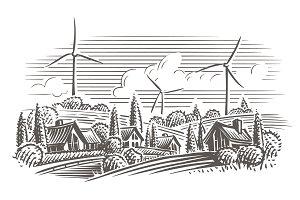 Eco countryside engraving. Vector.