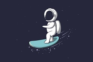 Cute astronaut rides on surfboard