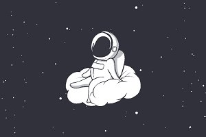 astronaut sits on cloud