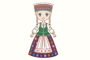 The girl in the Lithuanian suit.