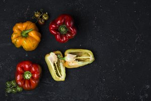 Group of colorful peppers
