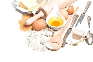 Baking ingredients eggs, flour